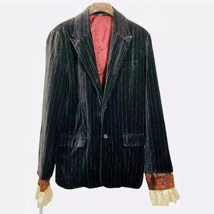 Black velvet pinstripe blazer lace sleeve cosplay